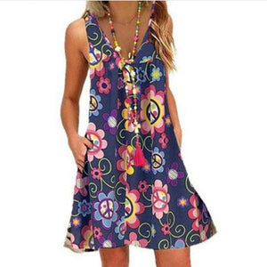 Candynana Women's Flowers Printed Sleeveless Deep V-neck Dress