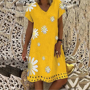 Fashion  V-neck Loose Short Sleeve Daisy Printed Dress