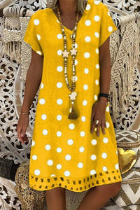 Candynana Knee Length Polka Dot Cut Out Flowy Dresses