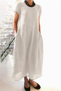 Candynana Loose Solid Color Plus Size Cotton And Linen Dress