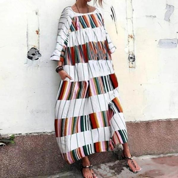Women's Large Size Striped Printed Long Dress