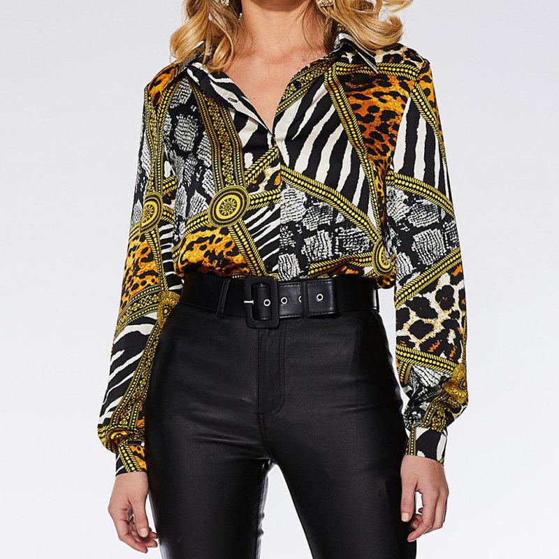 Candynana Women Long Sleeve Shirt Collar Striped Animal Printed Top
