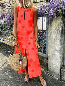 Candynana Dots Sleeveless Split Long Dress