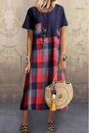 Candynana Sexy Cotton Linen Plaid Round Collar Dress
