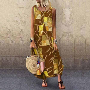 Candynana Casual Round Neck Digital Print Sleeveless Multicolor Dress