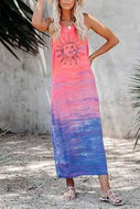 Candynana Sexy Round Neck Sleeveless Loose Gradient Sun Printed Dress