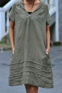 Candynana Solid color loose A-line womens cotton and linen dress