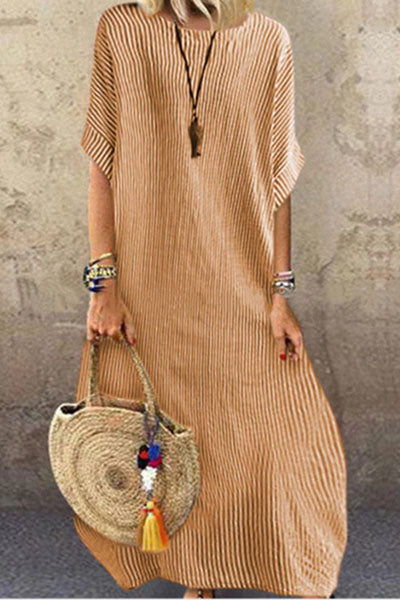 Candynana Striped crew neck holiday casual half-sleeved dress