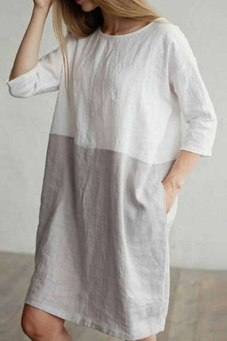 Candynana Cotton and linen stitching dress round neck 34 sleeve skirt