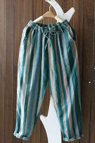 Candynana Cotton and linen striped casual pants nine-point pants thin womens pants