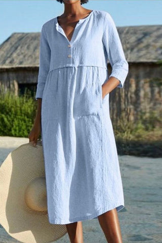 Candynana Round neck button pocket cotton and linen sleeves solid color dress