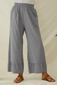 Laminated wide-leg casual pants