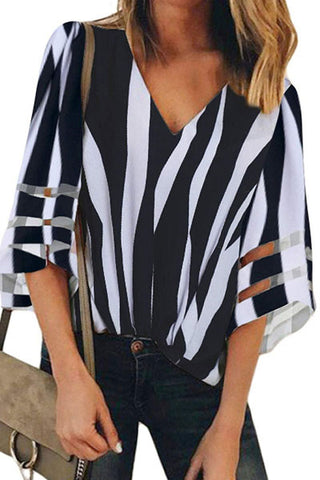 Candynana Striped printed shirt with flared sleeves