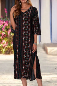 Candynana V-neck print loose dress maxi