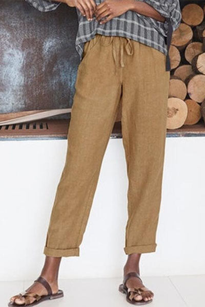 Candynana Solid color cotton and linen loose casual wide leg trousers
