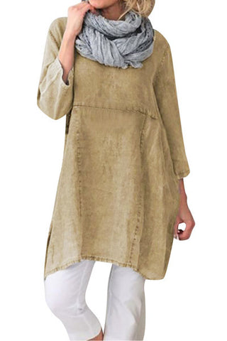 Candynana Solid color cotton and linen ladies pocket dress