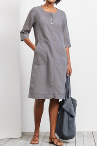 Candynana Fashionable loose cotton and linen solid color dress