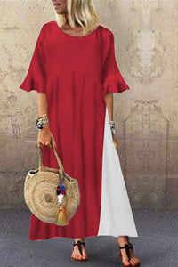 Candynana Loose stitching contrast color O-neck robe dress