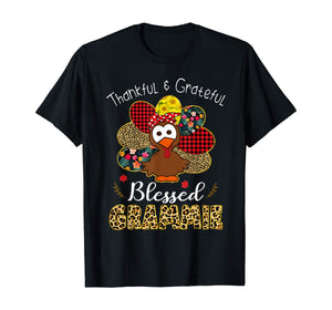 Thankful Grateful Blessed Grammie Leopard Turkey T-Shirt