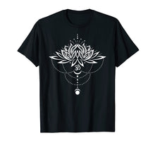 Afbeelding in Gallery-weergave laden, Lotus Flower Shirt with Om Symbol and Moon. Yoga, Meditation