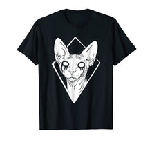 Afbeelding in Gallery-weergave laden, Black Metal Sphynx Cat Death Metal Goth T-Shirt