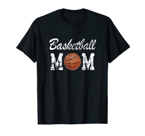 Basketball Mom Cute Novelty Distressed T-Shirt