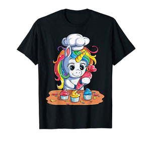 Unicorn Cupcake T shirt Girls Rainbow Unicorns Baking Cake