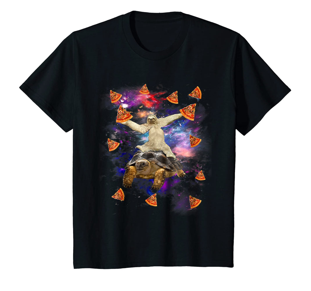 Sloth Riding Turtle Pizza Funny Sloth Shirt Galaxy