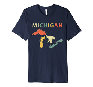 Michigan Great Lakes Shirt. Retro Vintage Colors T-Shirt Tee