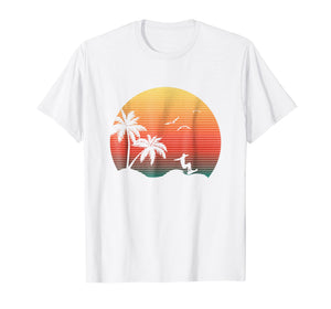 Summer Sunset Graphic Icon Surfer Ocean Palm Trees T-Shirt