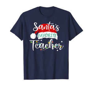 Santa's Favorite Teacher Santa Hat Christmas Light Tshirt