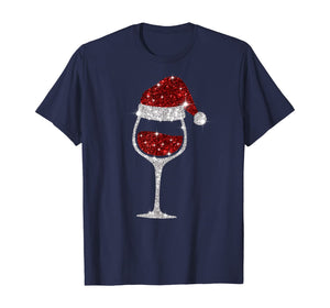 Wine Glasses Santa Hat Christmas Wine Lover T-Shirt