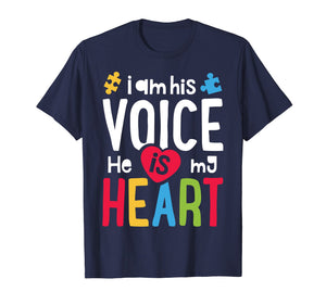 I Am His Voice He Is My Heart T shirt Autism Awareness Moms