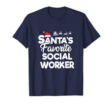 Afbeelding in Gallery-weergave laden, Santa's Favorite Social Worker Santa Claus Hat Christmas  T-Shirt