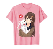 Afbeelding in Gallery-weergave laden, Cute Anime Girl and Kitty Cat Tee Shirt