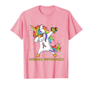 Embrace Differences Dabbing Unicorn Shirt Autism Awareness