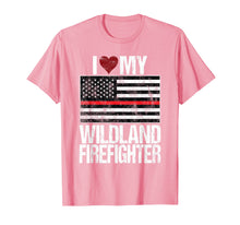 Afbeelding in Gallery-weergave laden, I Love My Wildland Firefighter T-Shirt Red Line US Flag