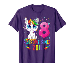 8 Years Old 8th Birthday Unicorn Shirt Girl gift Gift