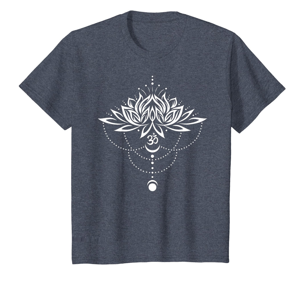 Lotus Flower Shirt with Om Symbol and Moon. Yoga, Meditation