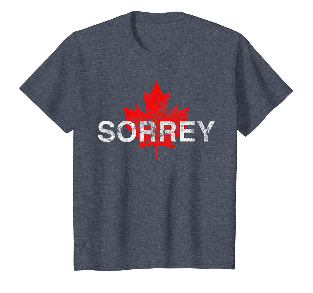 Sorrey Sorry Canadian Funny Apology Tee Shirt Red Maple Leaf