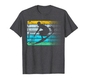 Cool Surfing Vintage Retro Silhouette Distressed Tee Shirt