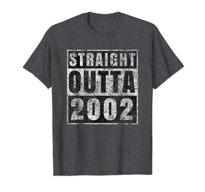 Straight Outta 2002 17 Year Old 17th Birthday Gift T-Shirt