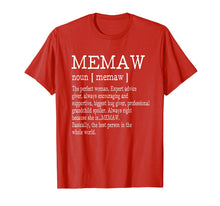 Afbeelding in Gallery-weergave laden, Memaw Definition Grandma Mother Day Gifts Women T-Shirt
