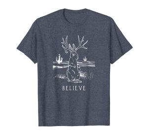 Believe Jackalope T Shirt, Cryptid Rabbit Bunny Tee Apparel
