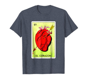 Mexican Loteria Tshirts - El Corazon T Shirt Grunge Version