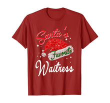 Afbeelding in Gallery-weergave laden, Santa's Favorite Waitress Santa Hat Christmas Light T-Shirt