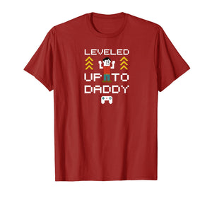 New dad Gifts leveled up to daddy day gift idea t-shirt