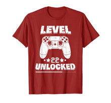 Afbeelding in Gallery-weergave laden, Level 22 Unlocked T-Shirt 22nd Video Gamer Birthday Gift