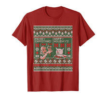 Afbeelding in Gallery-weergave laden, Woman Yelling at Cat Meme Ugly Christmas Sweater Style T-Shirt