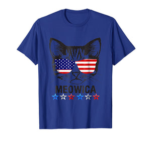 4th of July T Shirt American Flag Cat MEOWICA Shirt